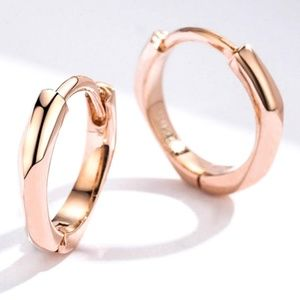 Jewelry - New Rose Gold Tone Mini Hoops 925 Sterling Silver